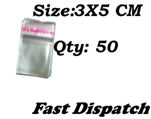 50 of 3 X 5 cm Clear Cello Cellophane Bags Display Self Adhesive Peel /& Seal
