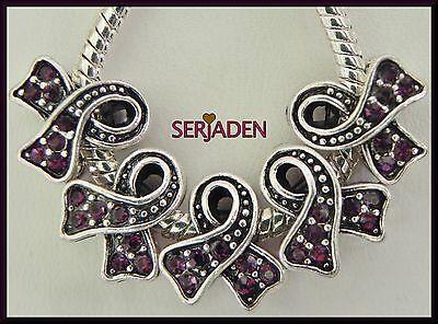5 Purple Stone Awareness Ribbon Fits European Jewelry 12 * 13 & 5 mm Hole   R095