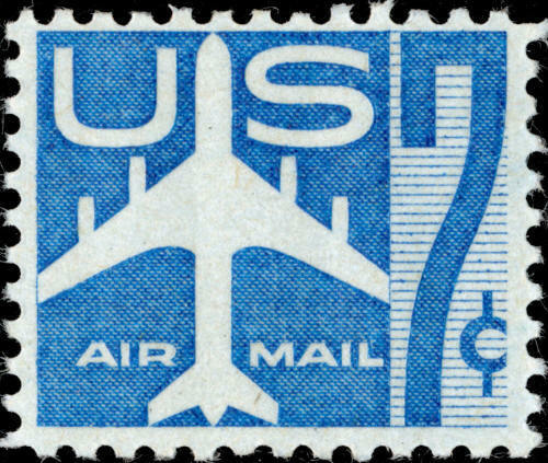 1958 7c Jet Silhouette, Blue Scott C51 Mint F/VF NH