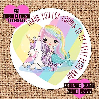 Etiquetas De Cono dulce MUI Unicornio Personalizado Sirena Arco Iris Bolsa Fiesta Pegatinas
