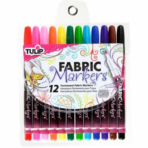 Air Dry Fabric Fine Pen Markers Assorted 12 Pack Permanent Tulip No Iron
