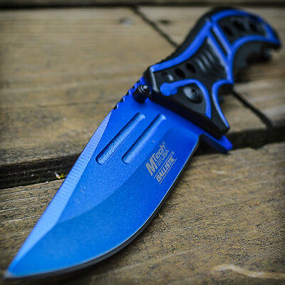 """8"""" M-TECH SPRING ASSISTED OPEN Blue Blade Tactical Folding Pocket Knife Switch"""