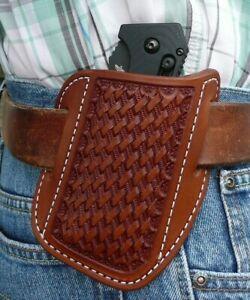 XX Large Leather Cross Draw Pocket Knife Sheath Ruff's Basket Weave Chestnut