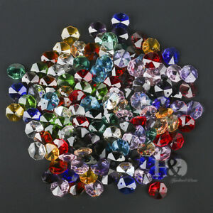 100PCS-Crystal-Octagon-Beads-Multicolour-Chandelier-Lamp-Parts-Home-Decor-14mm