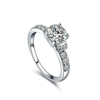 18K white gold plated 7mm CZ engagement wedding ring US size 6+gift bag