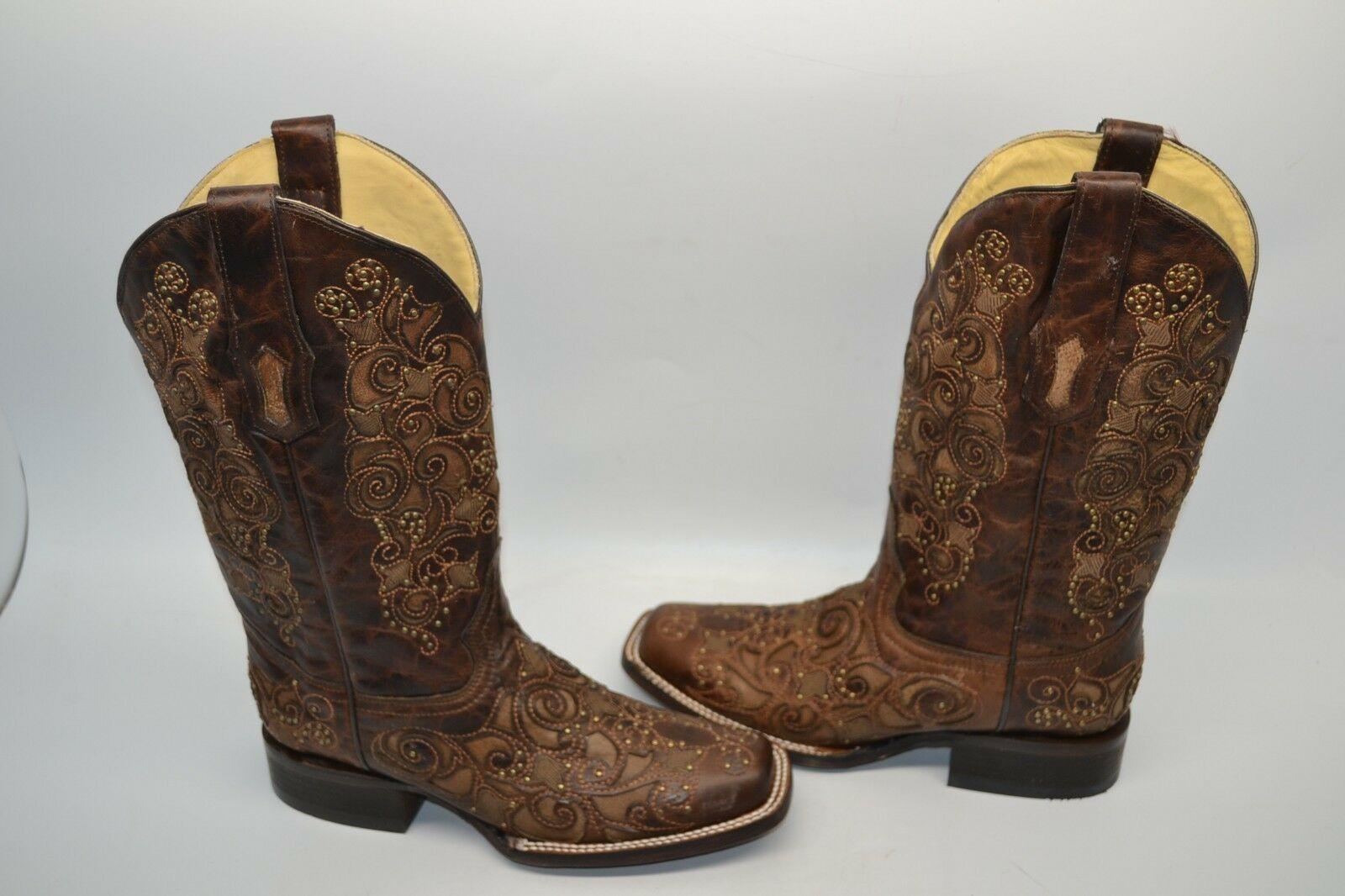 Corral Women 8 M Inlay Stud Leather Square Toe Cowgirl Western Boots Brown A3326