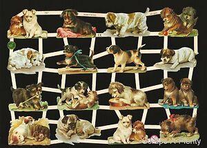 German Victorian Style Embossed Scrap Die Cut - Puppy / Dog CUTE EF7327