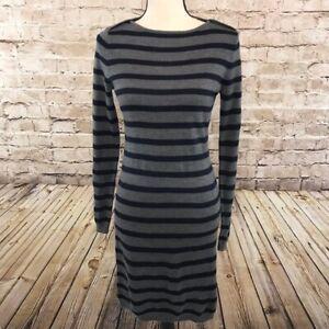 Ann-Taylor-Loft-Womens-Sz-S-Gray-Navy-Striped-Pullover-Long-Sleeve-Sweater-Dress