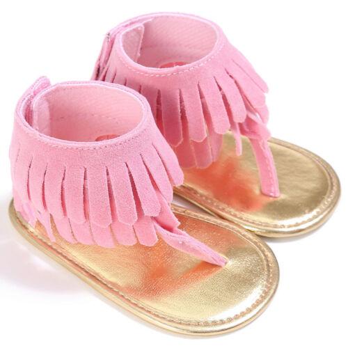 Baby Boys Girls Summer Sandals Tassel  Crib Shoes Soft Sole Crib Shoes Beach Set