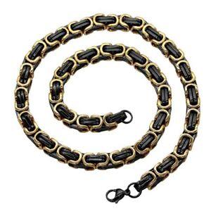 Koenigskette-Edelstahlkette-Panzerkette-Schwarz-Gold-Armband-Halskette-Herren