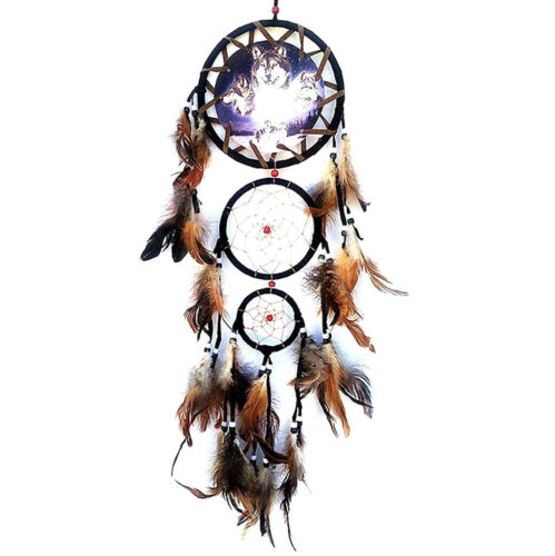 Handmade Wolf Pattern Feather w// Beads Dream Catcher Wall Hanging Decor