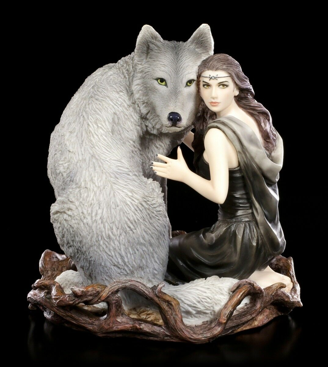 Anne Stokes Figure with Wolf Soul Bond Fantasy Fairy Dog Deco Statue