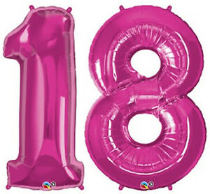18th-BIRTHDAY-PARTY-SUPPLIES-BALLOONS-34-034-MAGENTA-NUMBER-18-FOIL-BALLOONS