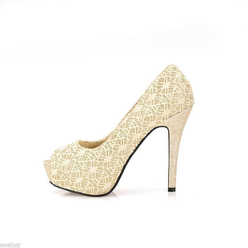 Chaussures Escarpin tipo dentelle talon talons aiguilles 11,8 cm beige