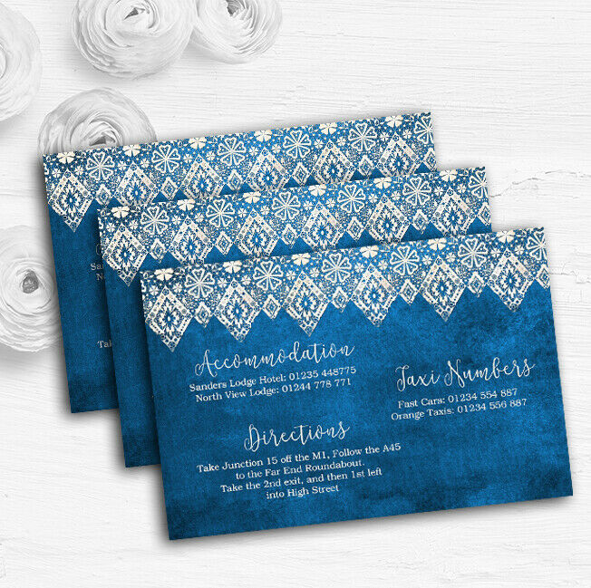 Vintage Blau Old Paper & Vintage Lace Effect Wedding Guest Information Cards