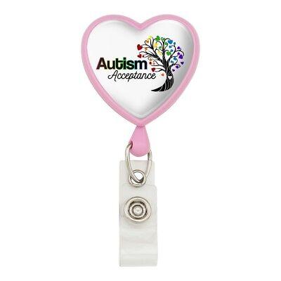 Autism Awareness Diversity Puzzle Pieces Heart Lanyard Reel Badge ID Card Holder