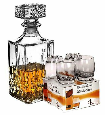 WHISKEY DECANTER AND 4X255ML TUMBLERS BOXED SET GLASS WHISKEY WINE ALCOHOL GIFT