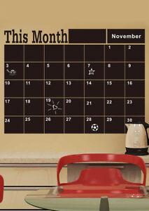monthly chalkboard chalk blackboard wall sticker month plan calendar