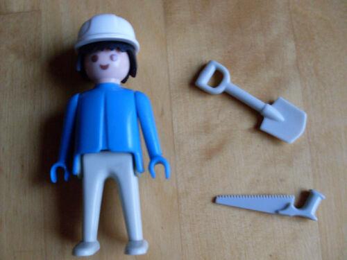 Playmobil Bauarbeiter mit Helm, Säge und Schaufel