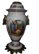 French París porcelana mano pintada de base de lámpara de aceite 12-12.5in