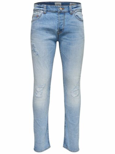 ONLY /& SONS Men/'s Ripped Jeans Stretch Slim Fit Branded Pants Jeans Blue 28-36