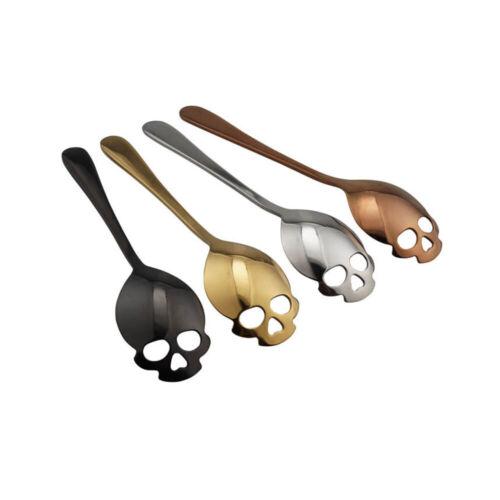 2pcs Punk Skull Shape Coffee Stainless Steel Mirror Spoon Stirring Sugar Spoon