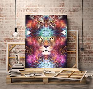 LIMITED Psychedelic, Fractal, Huachuma, Ayahuasca Lion Visionary Art Genesis