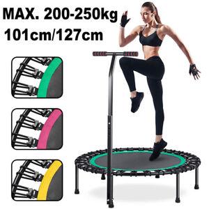 Jumping Fitness Trampolin mit Griff Mini Sport Trampoli Gummiseil Leise 200kg