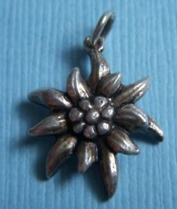 Edelweiss Silver Vintage Charm For Bracelet