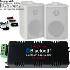Wireless/Bluetooth Amplifier & 2x 100W Wall Mounted Speaker Kit –HiFi Amp System