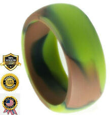 SILICONE WEDDING RING BAND FOR MEN SLEEK ROUND DOME GROOVE RUBBER CAMEO
