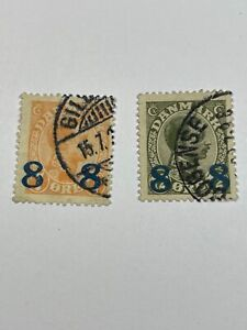 Denmark Scott 161-2 Used Surcharged - 75% Off Sale With Free US Shipping
