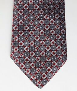 Grendale-Mens-Wear-check-tie-red-and-grey-pattern-British-made-vintage-1980s