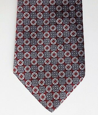 Grendale Mens Wear check tie red and grey pattern British made vintage 1980s