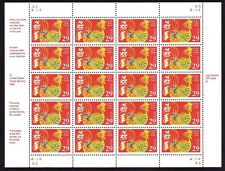 1992 YEAR OF THE ROOSTER: Chinese Lunar Happy New Year, Sheet 20 29¢ Stamps 2720
