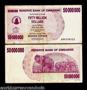 ZIMBABWE p 57 P57, 2008 UNC 50 MILLION DOLAR