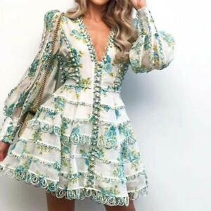 Chic-Women-039-s-Floral-Printed-Dresses-Puff-sleeve-Sexy-V-neck-Short-Dress-Yoooc