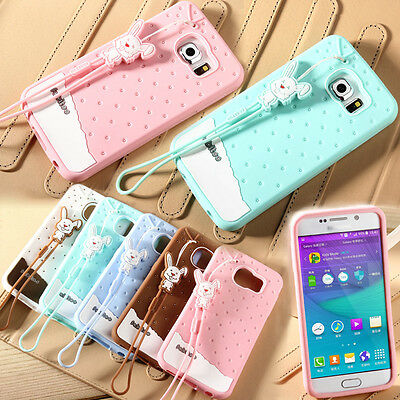 Cute Sweet Rabbit / Robot Skin Rope GEL Silicone Rubber Case Cover For Phone