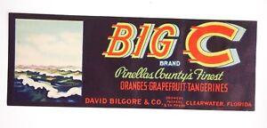 Vintage-Circa-1930-039-s-Big-C-Bilgore-FL-Grapefruit-Citrus-Crate-Fruit-Label