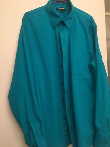 EXPRESS-MEN-039-S-1MX-MODERN-FIT-TURQUOISE-LONG-SLEEVE-DRESS-SHIRT-SIZE-L-16-16