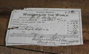 Antique 1902 Receipt Woodmen of the World Life Insurance Ephemera