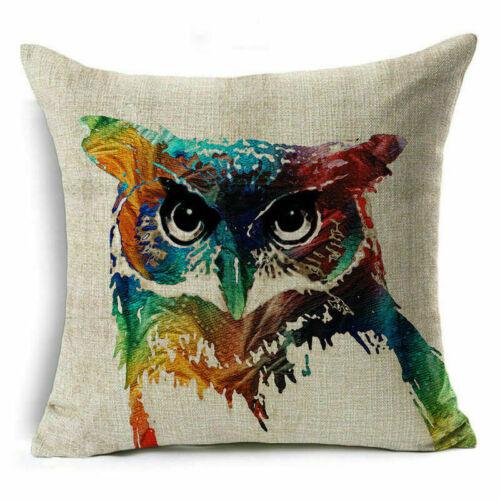 "Vintage Cushion Cover 18/""Cotton Linen Square Throw Pillow Case Sofa Waist Gift"