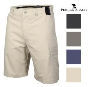 Image Is Loading Pebble Beach Mens Performance Flat Front Golf Shorts