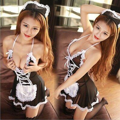 Women's Sexy Lingerie Cosplay Lingerie Costume Maid Uniform Sleepwear black S  L