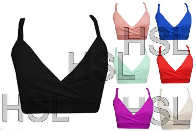 New Womens Ladies Plain Strappy Bra Crop Top Vest Tank Bralet Top 8-14 UNBRANDED