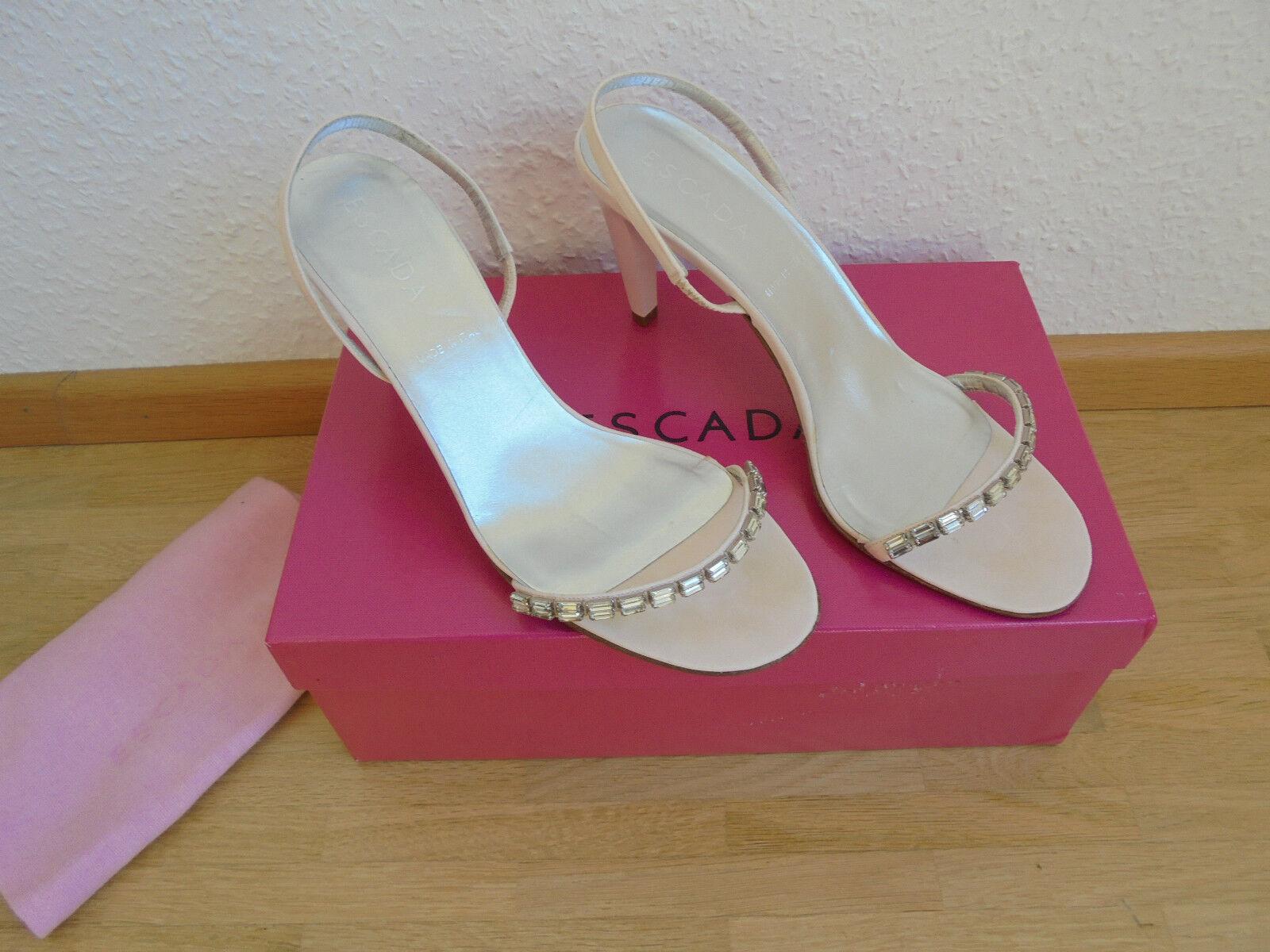 ♥ NEU Original ESCADA NP: Leder Sandaletten NP: ESCADA  Pumps Tasche Schuhe Gr. 38 ♥ fef10c