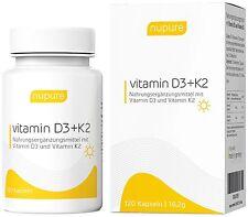 Vitamin K2, Vitamin D3 hochdosiert - 1000 IE - Natürlich Vegan - 120 Kapseln