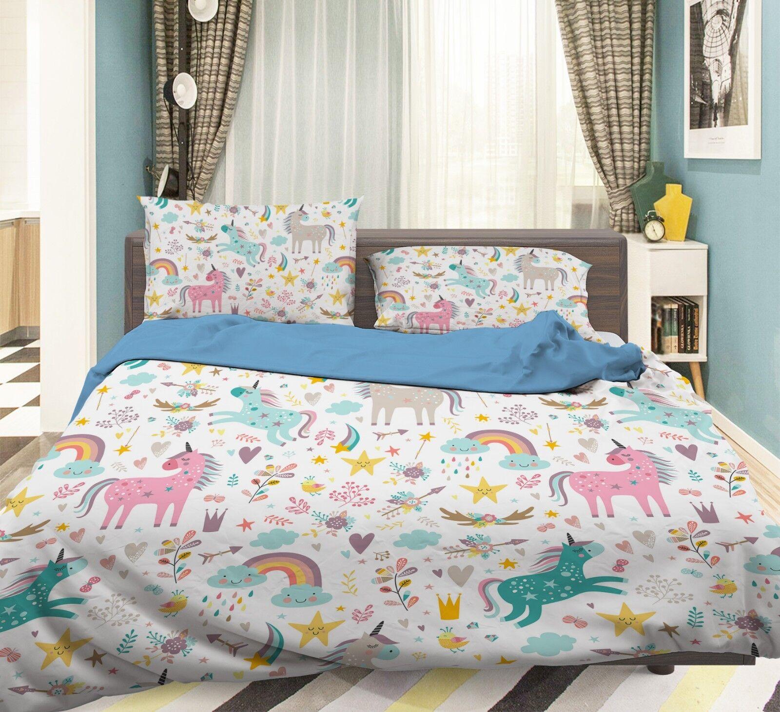 3D Malen Einhorn Regenbogen 5 Bett Kissenbezüge steppen Duvet Decken Set Single
