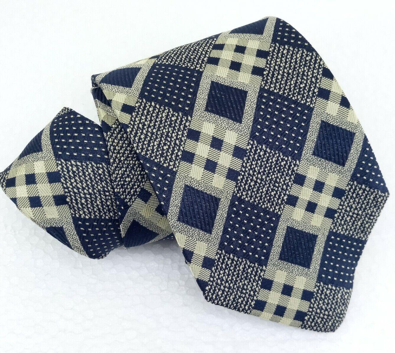 Krawatte Plaid mit Karomuster blau Coveri Italien breit Seide Hochzeit Geschäft