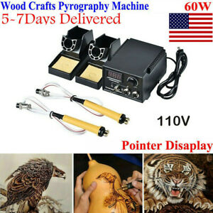 Multifunction Crafts 60W Wood Burning Pen Tool Pyrography Machine Set Kit Burner